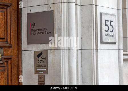 Entrance to the British Government Department For International Trade at 55 Whitehall, London. - Stock Photo