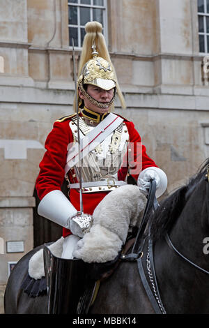 Soldier of The Queen's Lifeguard at Horse Guards in Whitehall, London. - Stock Photo