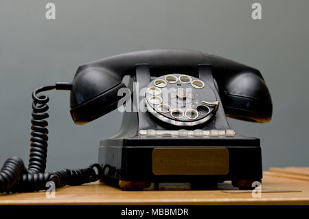 Blackwater, Missouri.  Mid-Missouri museum of Independent Telephone Pioneers. Rotary telephone by Northern Electric, 1945. - Stock Photo