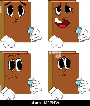 Books drinking brandy. Cartoon book collection with sad faces. Expressions vector set. - Stock Photo