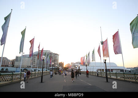 Pyrmont Bridge, Darling Harbour, Sydney taken in the evening just before sunset. - Stock Photo