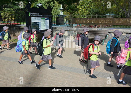 Schoolchildren on a field trip to the Canterbury Museum, ChristChurch, New Zealand - Stock Photo