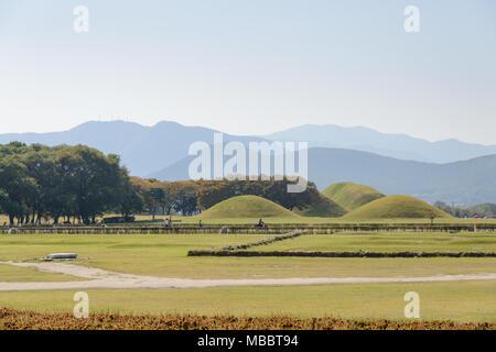 GYEONGJU, KOREA - OCTOBER 18, 2014: royal tombs located in Gyeongju in Silla kingdom. Silla was one of the kingdoms of acient Korea. - Stock Photo