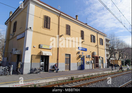 ROME, ITALY - JANUARY 20, 2010: view of Bracciano Station. Bracciano is a town in Lazio, Italy. It is famous for the volcanic lake and the Castle 'Cas - Stock Photo