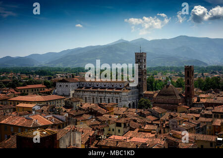Amazing scenic view of Lucca and Duomo di San Martino from Torre dell Orologio, Lucca, Tuscany, Italy. - Stock Photo