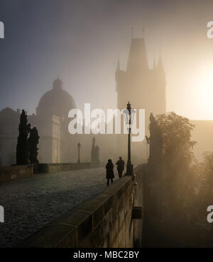 Charles Bridge during sunrise, Prague, Czech republic - Stock Photo