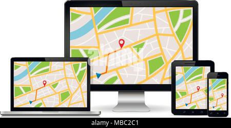 Map with GPS location mark displayed on digital devices screen. Responsive navigation web design concept. - Stock Photo