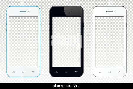 Realistic smartphones with transparent screen isolated on transparent background. Vector illustration. - Stock Photo