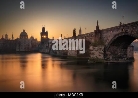 Majestic Charles Bridge during sunrise, Prague, Czech republic - Stock Photo