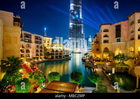 Beautiful famous downtown area in Dubai at night, Dubai, United Arab Emirates - Stock Photo