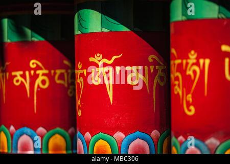 Buddhist prayer wheels in Mcleodganj, India - Stock Photo