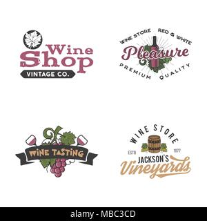 Wine logos, labels set. Winery, wine shop, vineyards badges collection. Retro Drink symbol. Typographic hand drawn design illustration. Stock vector emblems and patches isolated on white background - Stock Photo