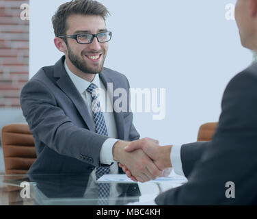 welcome and handshake business partners - Stock Photo