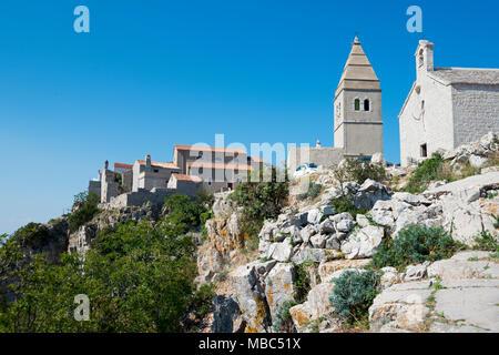 Parish Church of the Blessed Virgin Mary, Lubenice, Cres Island, Kvarner Gulf Bay, Croatia - Stock Photo