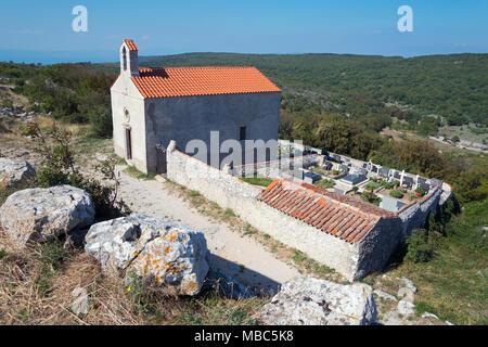 Cemetery chapel Kapela Sv Stjepana no grobljua, Lubenice, Cres Island, Kvarner Gulf Bay, Croatia - Stock Photo