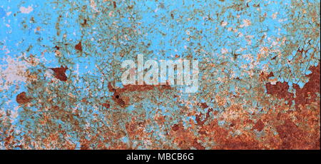Peeling paint on wall seamless texture. Pattern of rustic blue grunge material - Stock Photo