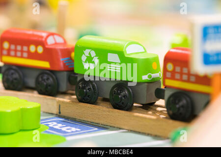 Red train and Grean train Wooden toy - Toys for kids Play set Educational toys for preschool indoor playground - Stock Photo