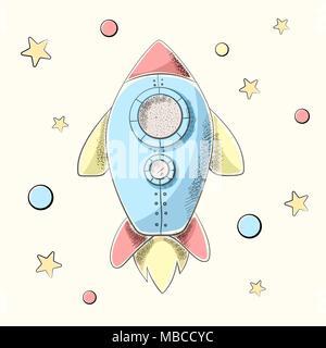 Funny, cute cartoon rocket illustration. - Stock Photo