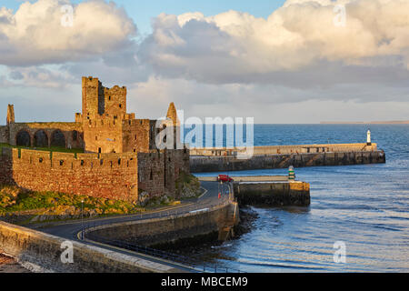 Peel Castle in Peel, Isle of Man, England - Stock Photo
