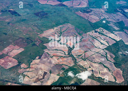 Aerial view of cultivated fields along the East coast of Australia - Stock Photo