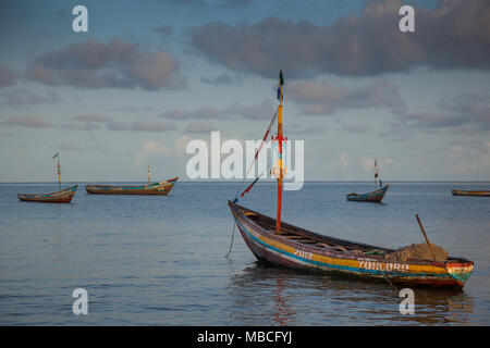 YONGORO, SIERRA LEONE - June 05, 2013: West Africa, the beach with fishing boats in front of the capital Freetown, Sierra Leone - Stock Photo
