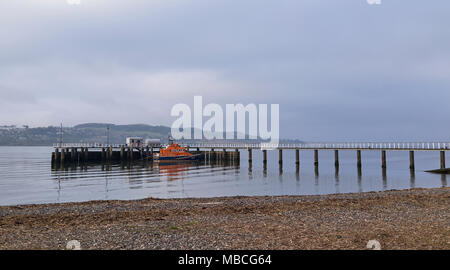The Elizabeth of Glamis Trent Class Lifeboat moored peacefully at Broughty Ferry Lifeboat Station and Pier just up the Tay Estuary from Dundee, Scotla - Stock Photo