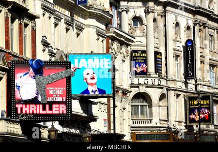 London, England, UK. Theatres on Shaftesbury Avenue. Thriller (Lyric) Everyone's Talking about Jamie (Apollo) Ferryman (Gielgud) - Stock Photo