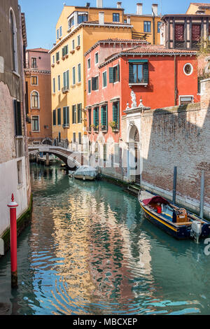 Colorful canal in Venice Italy - Stock Photo