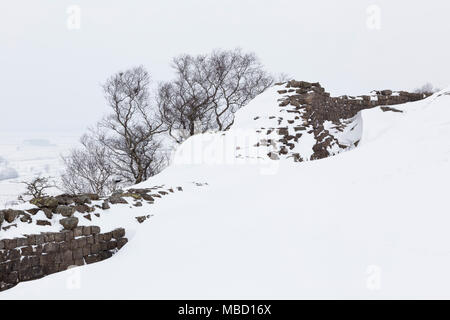 Hadrian's Wall - Walltown Crags in winter, looking east - Stock Photo
