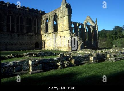 HAUNTINGS  Like many British abbeys, Bolton is haunted by the ghost of a monk.  This may be the same ghost who has been described as 'wearing a black cloak' - Stock Photo