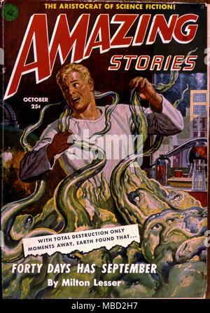 Monsters.  Cover of Amazing Stories, an  American science fiction magazine.. Illustration by Jones.1951 - Stock Photo