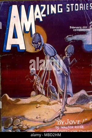 Monsters.  Cover of Amazing Stories, an  American science fiction comic. Illustration by Morey. 1937 - Stock Photo
