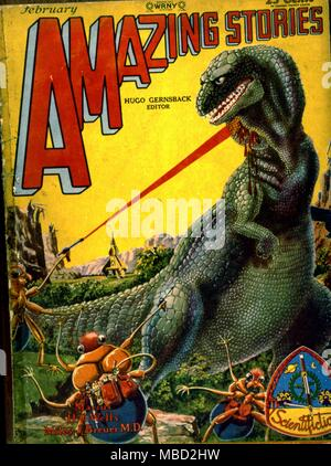 Monsters.  Cover of Amazing Stories, an  American science fiction magazine.  Illustration by Paul. 1929 - Stock Photo