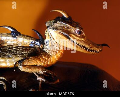 DRAGON - as a composite of other creatures, mainly lizards.  Detail from a taxidermy creation of Charles Waterton (1782-1865) - a political satire on the National Debt, at 800 million pounds.  Wakefield City Museum - Stock Photo