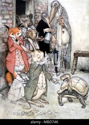 Fairy Tales - Hare and Tortoise - Illustration by Arthur Rackham of the story of the Hare and the Tortoise, from Aesop's Fables, 1908