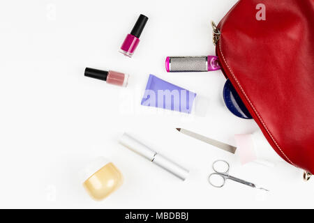 Manicure bag and tools, leg's nail careconcept on white background. Flat lay - Stock Photo