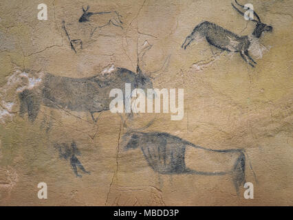 Caves of El Cogul. Rock shelter paintings of prehistoric Levantine rock art. Detail of a large bovine scene in the center of the frieze. Unesco World Heritage Site. El Cogul, province of Lleida, Catalonia, Spain. - Stock Photo