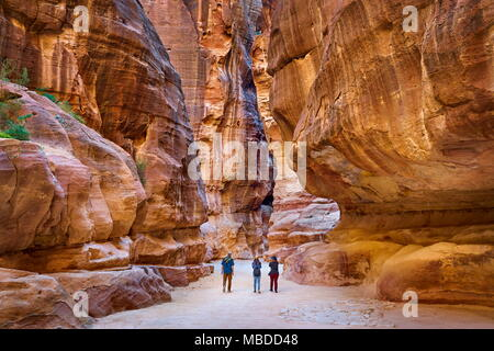 Siq - long canyon of Petra in Jordan - Stock Photo