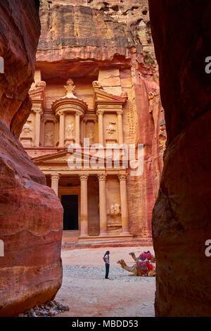 Al Khazneh Treasury, Petra ancient town, Jordan - Stock Photo