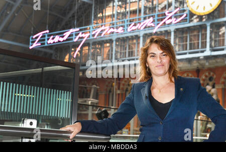 Tracey Emin unveils her 20-metre-long work, I Want My Time With You, 2018, part of the Terrace Wires installation programme at St Pancras International, London. - Stock Photo