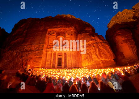 Petra by night, the Treasury Al Khazneh, Petra, Jordan - Stock Photo