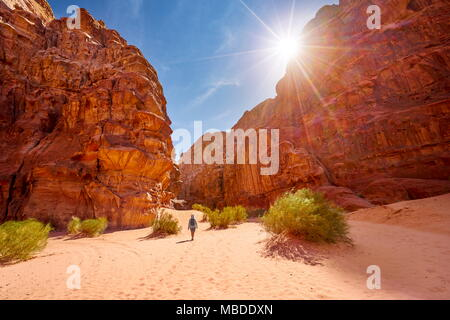 Trekking in Wadi Rum Desert, Jordan - Stock Photo