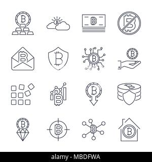 Bitcoin different icons set for internet money crypto currency symbol and coin image for using in web, apps, programs and other. Editable Stroke - Stock Photo