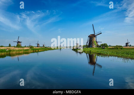 Windmills at Kinderdijk in Holland. Netherlands - Stock Photo