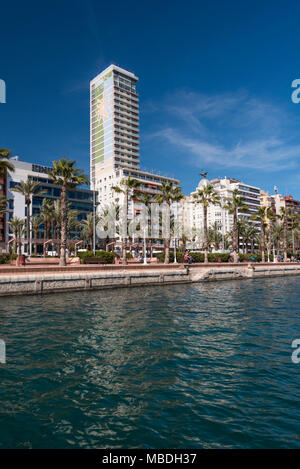 Skyline of the city of Alicante from its port, Alicante, Spain Europe - Stock Photo