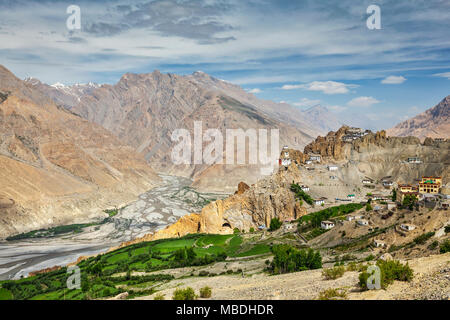 View of Spiti valley and Dhankar Gompa in Himalayas - Stock Photo