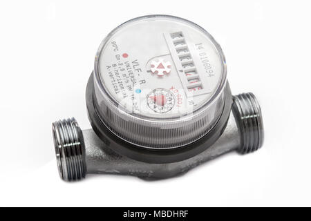 meter water close-up isolated on white background - Stock Photo