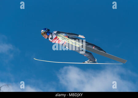 PLANICA, SLOVENIA - MARCH 24 2018 : Fis World Cup Ski Jumping Final - SCHLIERENZAUER Gregor AUT - Stock Photo