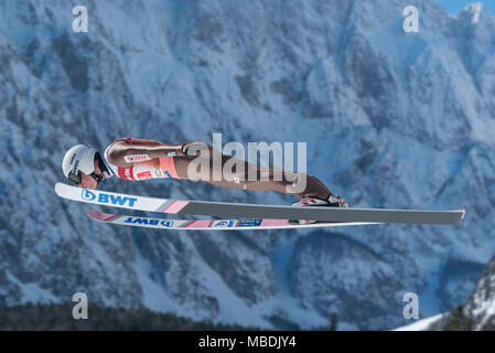 PLANICA, SLOVENIA - MARCH 24 2018 : Fis World Cup Ski Jumping Final - ZYLA Piotr POL - Stock Photo