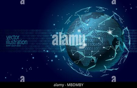 Global international blockchain cryptocurrency. Planet space low poly modern future technology finance banking design. Polygonal triangle web security payment business vector illustration - Stock Photo